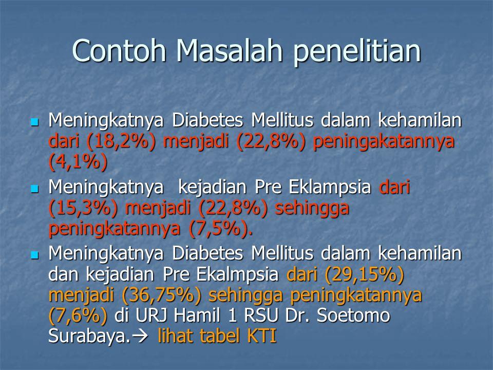 Contoh Masalah penelitian Meningkatnya Diabetes Mellitus dalam kehamilan dari (18,2%) menjadi (22,8%) peningakatannya (4,1%) Meningkatnya Diabetes Mel