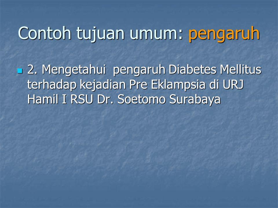 Contoh tujuan umum: pengaruh 2. Mengetahui pengaruh Diabetes Mellitus terhadap kejadian Pre Eklampsia di URJ Hamil I RSU Dr. Soetomo Surabaya 2. Menge