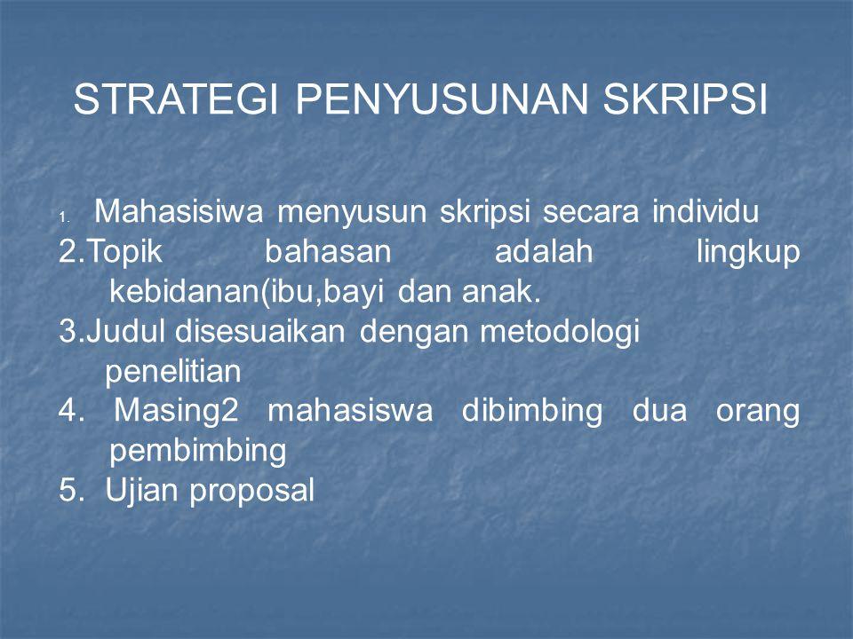 1. Mahasisiwa menyusun skripsi secara individu 2.Topik bahasan adalah lingkup kebidanan(ibu,bayi dan anak. 3.Judul disesuaikan dengan metodologi penel