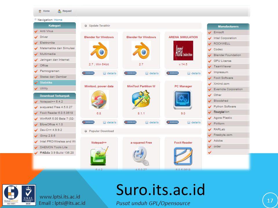 17 www.lptsi.its.ac.id Email : lptsi@its.ac.id Suro.its.ac.id Pusat unduh GPL/Opensource