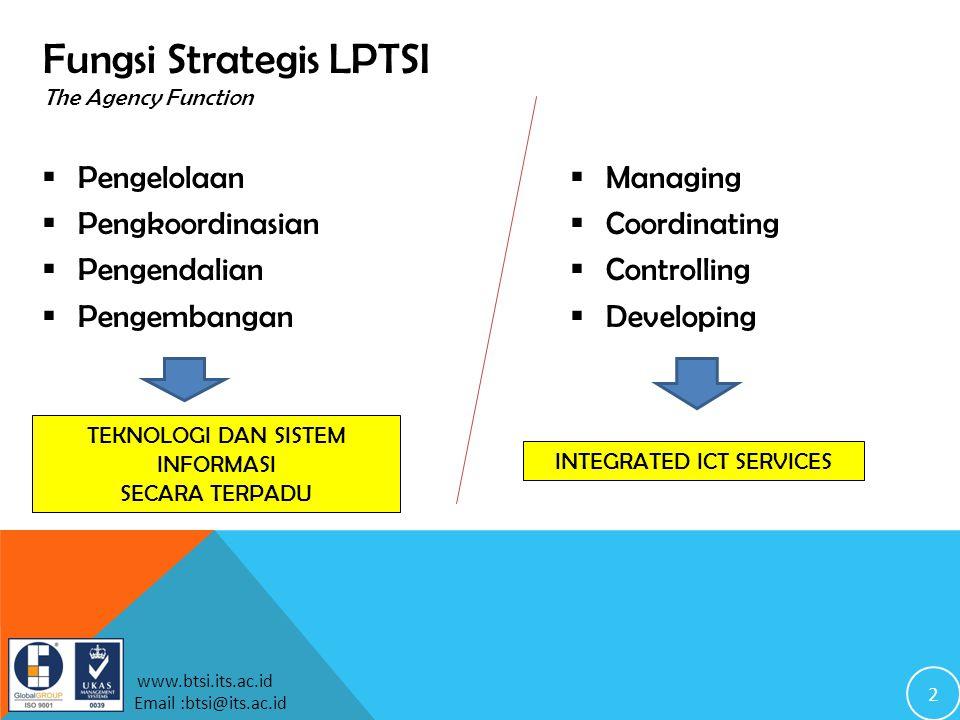 2 www.btsi.its.ac.id Email :btsi@its.ac.id Fungsi Strategis LPTSI The Agency Function  Pengelolaan  Pengkoordinasian  Pengendalian  Pengembangan TEKNOLOGI DAN SISTEM INFORMASI SECARA TERPADU INTEGRATED ICT SERVICES  Managing  Coordinating  Controlling  Developing
