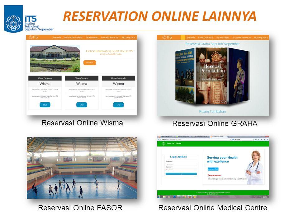 RESERVATION ONLINE LAINNYA Reservasi Online Wisma Reservasi Online GRAHA Reservasi Online FASORReservasi Online Medical Centre