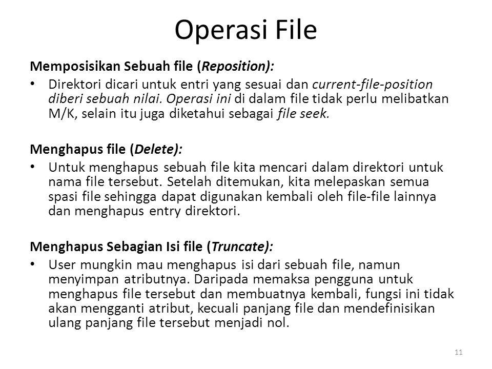 Operasi File Memposisikan Sebuah file (Reposition): Direktori dicari untuk entri yang sesuai dan current-file-position diberi sebuah nilai. Operasi in