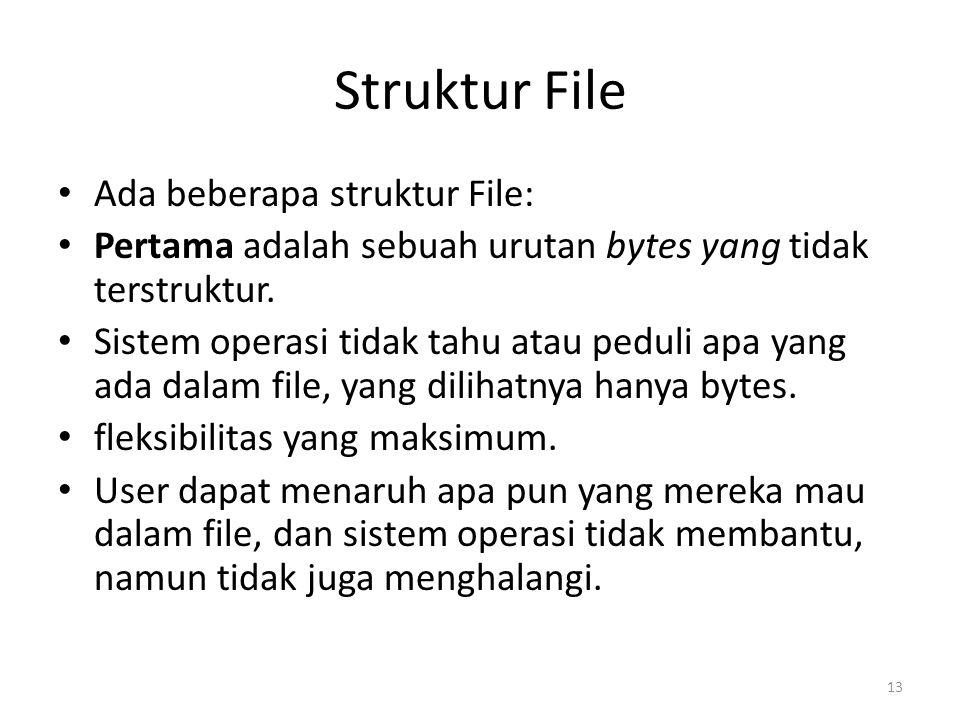 Struktur File Ada beberapa struktur File: Pertama adalah sebuah urutan bytes yang tidak terstruktur. Sistem operasi tidak tahu atau peduli apa yang ad