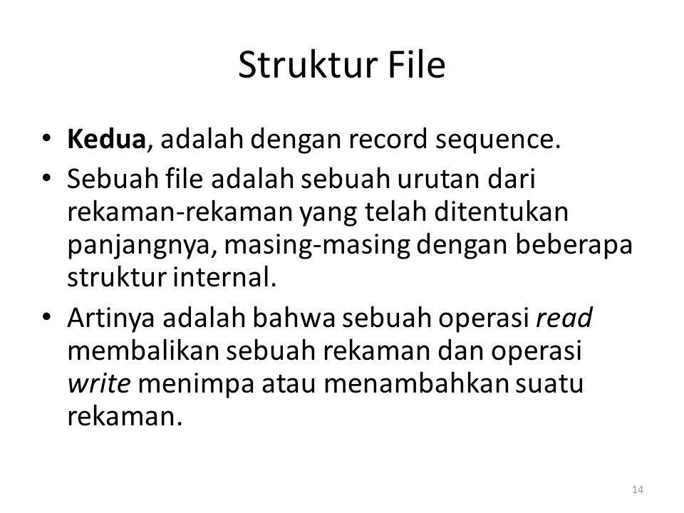 Struktur File Kedua, adalah dengan record sequence. Sebuah file adalah sebuah urutan dari rekaman-rekaman yang telah ditentukan panjangnya, masing-mas