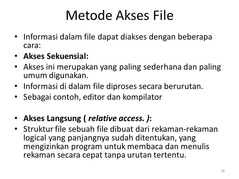 Metode Akses File Informasi dalam file dapat diakses dengan beberapa cara: Akses Sekuensial: Akses ini merupakan yang paling sederhana dan paling umum digunakan.
