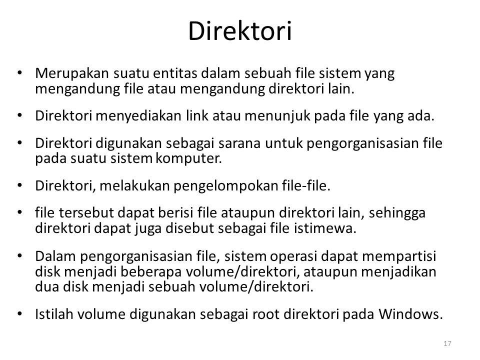 Direktori Merupakan suatu entitas dalam sebuah file sistem yang mengandung file atau mengandung direktori lain. Direktori menyediakan link atau menunj