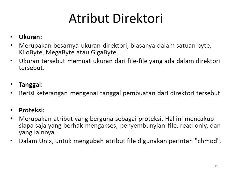 Atribut Direktori Ukuran: Merupakan besarnya ukuran direktori, biasanya dalam satuan byte, KiloByte, MegaByte atau GigaByte. Ukuran tersebut memuat uk