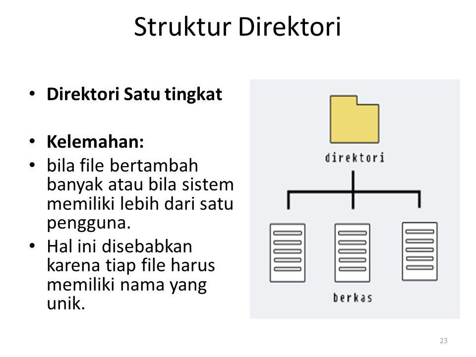 Struktur Direktori Direktori Satu tingkat Kelemahan: bila file bertambah banyak atau bila sistem memiliki lebih dari satu pengguna. Hal ini disebabkan