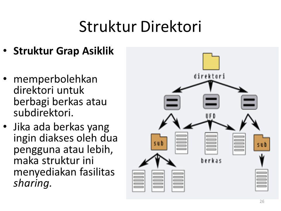 Struktur Direktori Struktur Grap Asiklik memperbolehkan direktori untuk berbagi berkas atau subdirektori. Jika ada berkas yang ingin diakses oleh dua