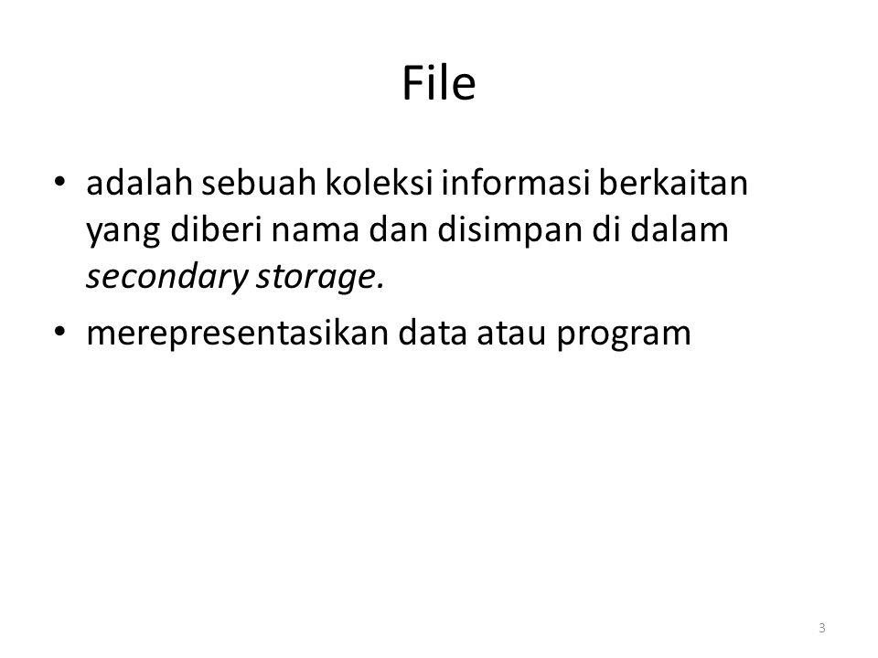 File adalah sebuah koleksi informasi berkaitan yang diberi nama dan disimpan di dalam secondary storage. merepresentasikan data atau program 3