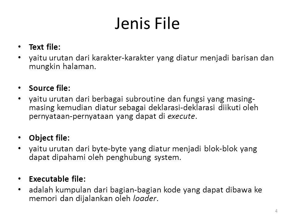 Jenis File Text file: yaitu urutan dari karakter-karakter yang diatur menjadi barisan dan mungkin halaman. Source file: yaitu urutan dari berbagai sub