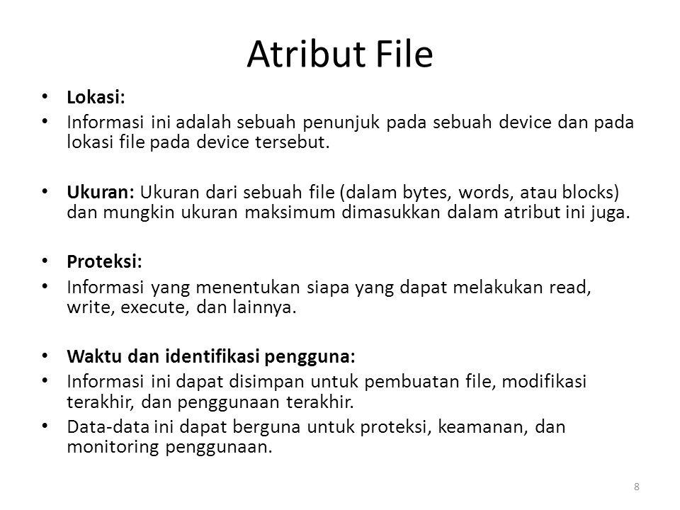 Atribut File Lokasi: Informasi ini adalah sebuah penunjuk pada sebuah device dan pada lokasi file pada device tersebut. Ukuran: Ukuran dari sebuah fil