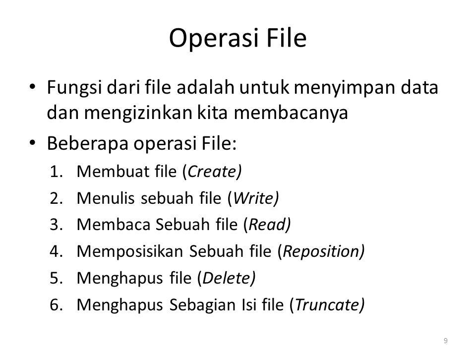 Operasi File Fungsi dari file adalah untuk menyimpan data dan mengizinkan kita membacanya Beberapa operasi File: 1.Membuat file (Create) 2.Menulis sebuah file (Write) 3.Membaca Sebuah file (Read) 4.Memposisikan Sebuah file (Reposition) 5.Menghapus file (Delete) 6.Menghapus Sebagian Isi file (Truncate) 9