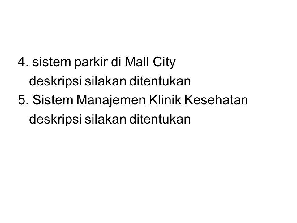 4. sistem parkir di Mall City deskripsi silakan ditentukan 5. Sistem Manajemen Klinik Kesehatan deskripsi silakan ditentukan