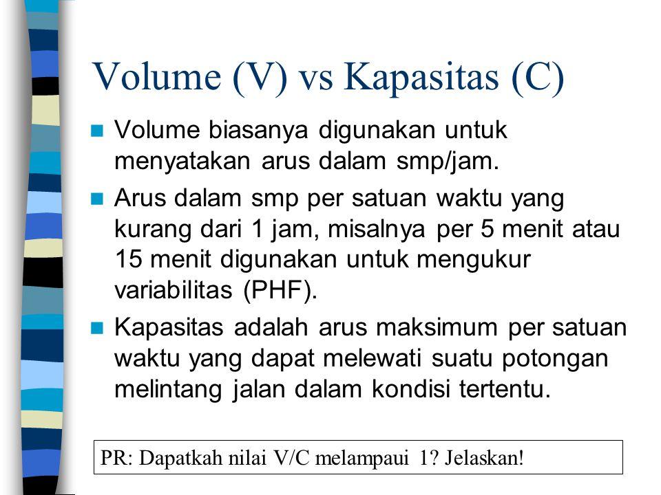 Volume (V) vs Kapasitas (C) Volume biasanya digunakan untuk menyatakan arus dalam smp/jam. Arus dalam smp per satuan waktu yang kurang dari 1 jam, mis
