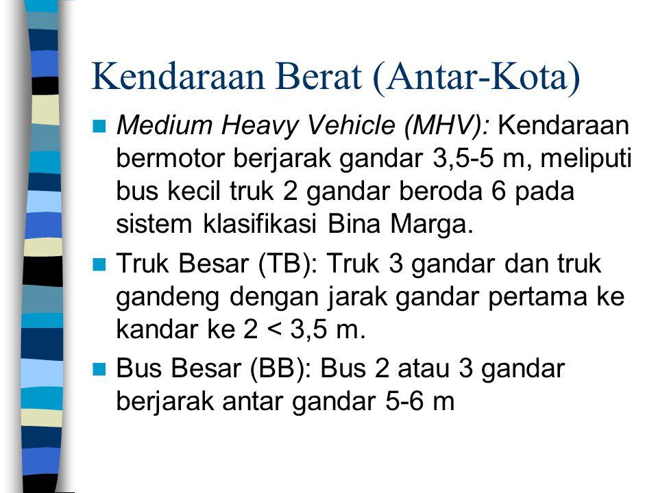 Kendaraan Berat (Antar-Kota) Medium Heavy Vehicle (MHV): Kendaraan bermotor berjarak gandar 3,5-5 m, meliputi bus kecil truk 2 gandar beroda 6 pada si
