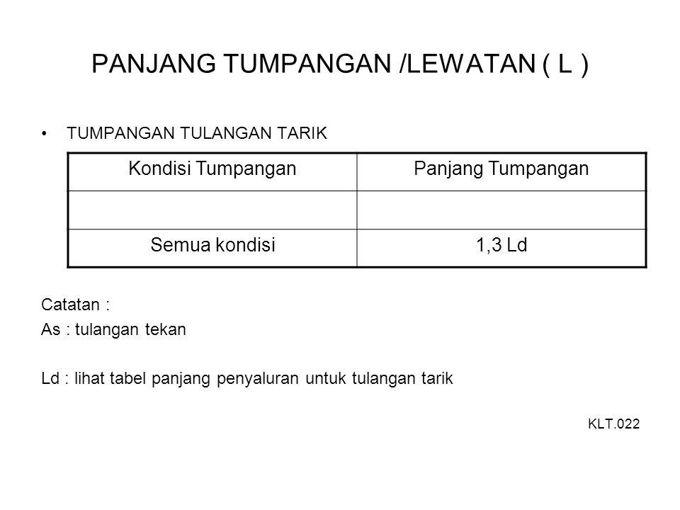 PANJANG TUMPANGAN /LEWATAN ( L ) TUMPANGAN TULANGAN TARIK Catatan : As : tulangan tekan Ld : lihat tabel panjang penyaluran untuk tulangan tarik KLT.0
