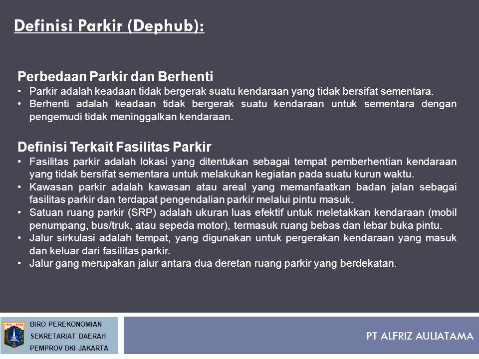PT ALFRIZ AULIATAMA BIRO PEREKONOMIAN SEKRETARIAT DAERAH PEMPROV DKI JAKARTA Definisi Parkir (Dephub): Perbedaan Parkir dan Berhenti Parkir adalah kea