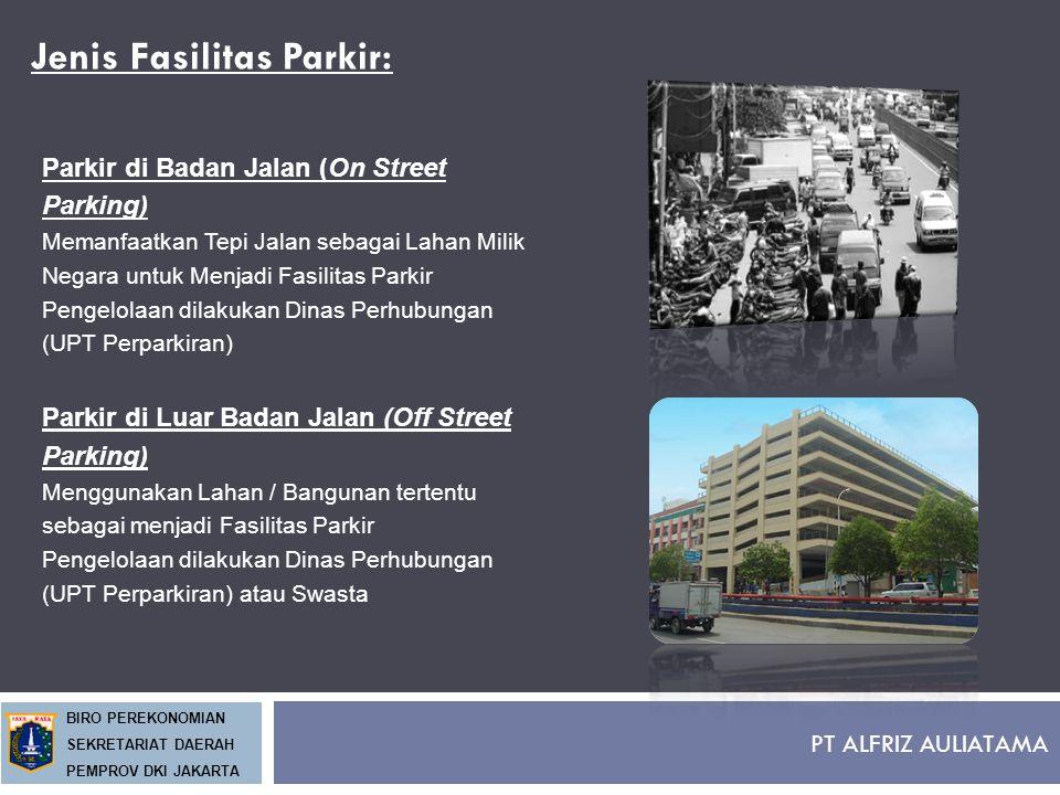 PT ALFRIZ AULIATAMA BIRO PEREKONOMIAN SEKRETARIAT DAERAH PEMPROV DKI JAKARTA Jenis Fasilitas Parkir: Parkir di Badan Jalan (On Street Parking) Memanfa