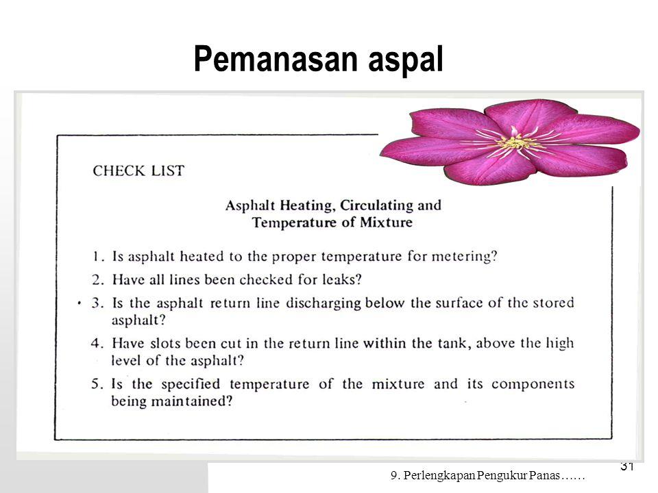 31 Pemanasan aspal 9. Perlengkapan Pengukur Panas……