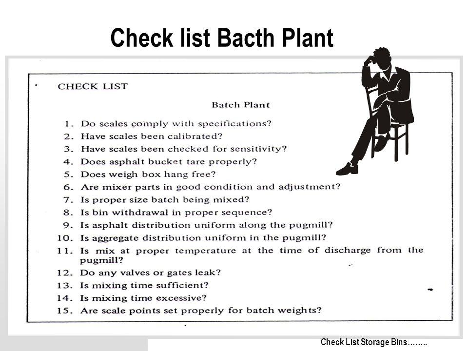 49 Check list Bacth Plant Check List Storage Bins……..