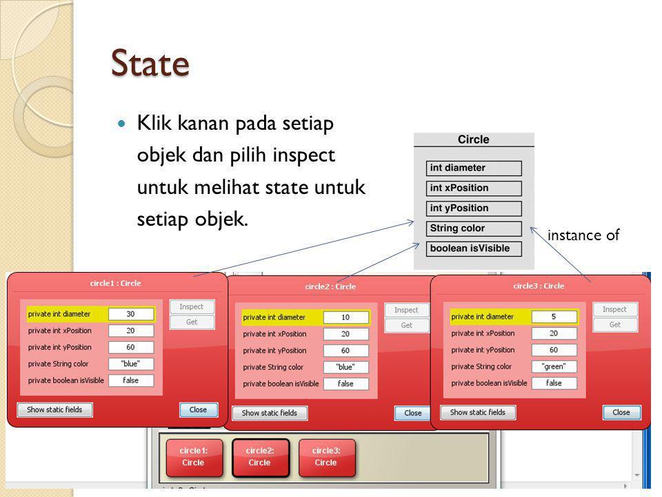 State Klik kanan pada setiap objek dan pilih inspect untuk melihat state untuk setiap objek.