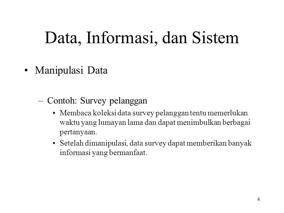 4 Data, Informasi, dan Sistem Manipulasi Data –Contoh: Survey pelanggan Membaca koleksi data survey pelanggan tentu memerlukan waktu yang lumayan lama dan dapat menimbulkan berbagai pertanyaan.