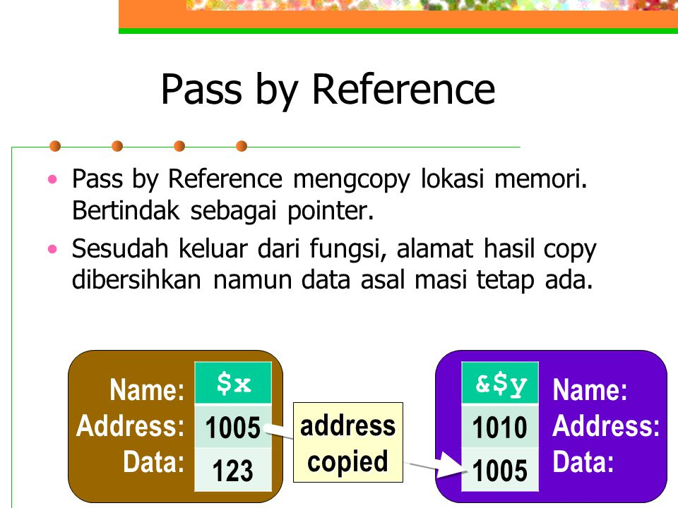 Pass by Reference Pass by Reference mengcopy lokasi memori.