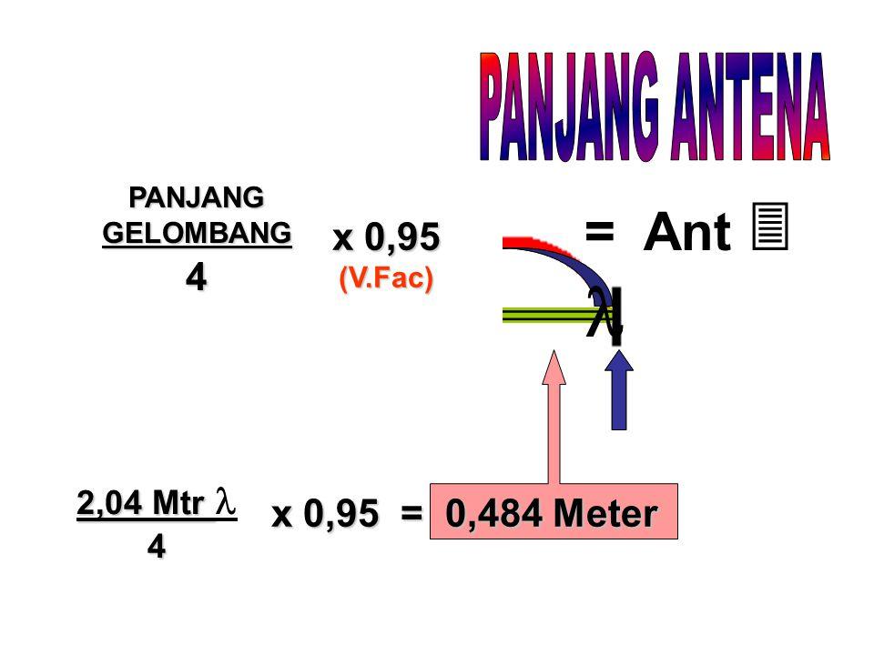 4 x 0,95 (V.Fac) = Ant  2,04 Mtr 2,04 Mtr 4 x 0,95 = 0,484 Meter