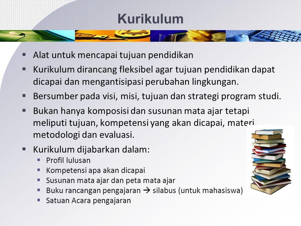 Kurikulum  Kurikulum merupakan rambu-rambu untuk menjamin mutu dan kemampuan sesuai dengan program yang ditempuh.