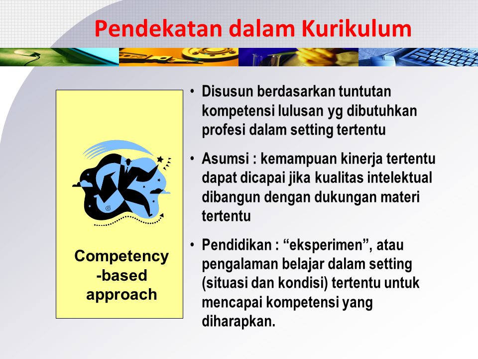 Pendekatan Kompetensi dalam Kurikulum Competency -based approach Integration Students/ professional needs Contextual Active learning