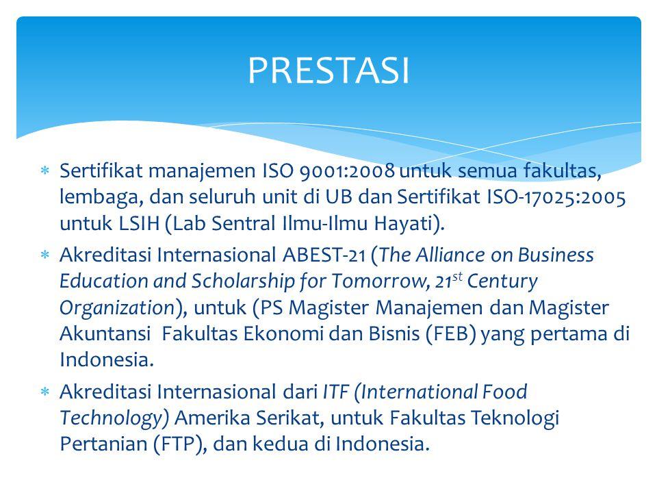  Sertifikat manajemen ISO 9001:2008 untuk semua fakultas, lembaga, dan seluruh unit di UB dan Sertifikat ISO-17025:2005 untuk LSIH (Lab Sentral Ilmu-