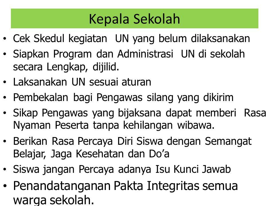 Kepala Sekolah Cek Skedul kegiatan UN yang belum dilaksanakan Siapkan Program dan Administrasi UN di sekolah secara Lengkap, dijilid. Laksanakan UN se