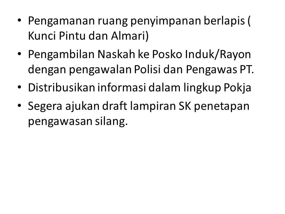 Pengamanan ruang penyimpanan berlapis ( Kunci Pintu dan Almari) Pengambilan Naskah ke Posko Induk/Rayon dengan pengawalan Polisi dan Pengawas PT. Dist