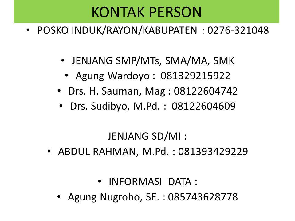KONTAK PERSON POSKO INDUK/RAYON/KABUPATEN : 0276-321048 JENJANG SMP/MTs, SMA/MA, SMK Agung Wardoyo : 081329215922 Drs. H. Sauman, Mag : 08122604742 Dr