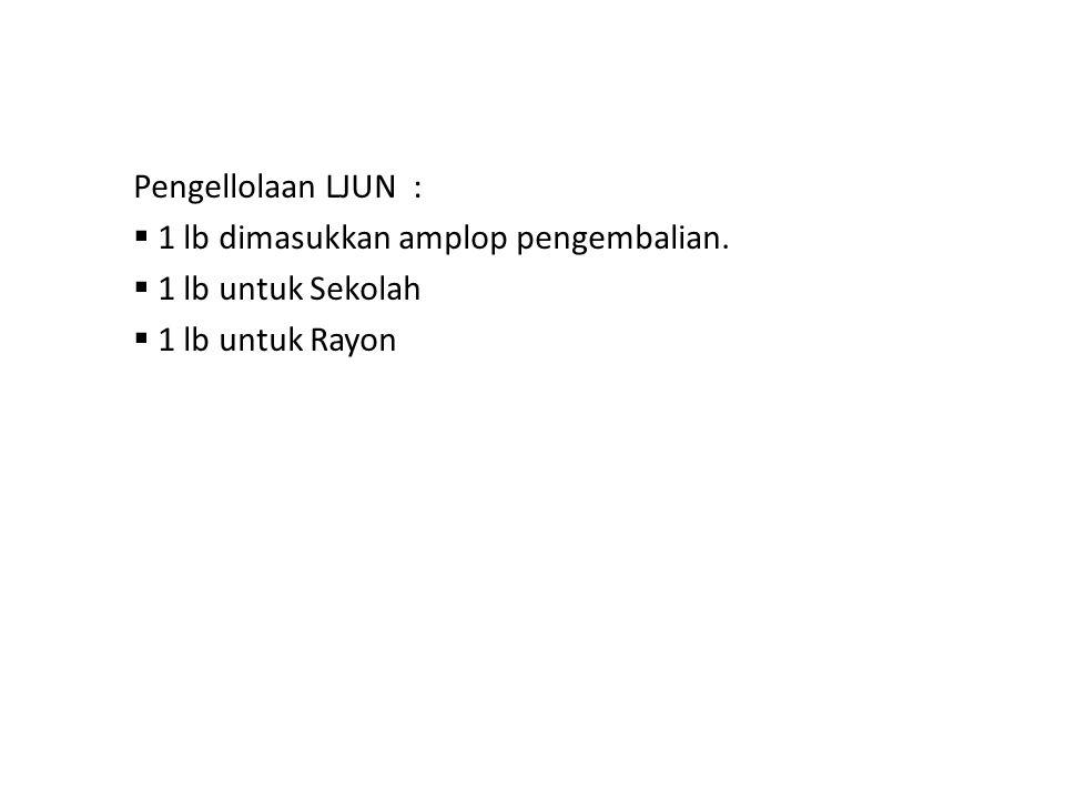 Pengellolaan LJUN :  1 lb dimasukkan amplop pengembalian.  1 lb untuk Sekolah  1 lb untuk Rayon