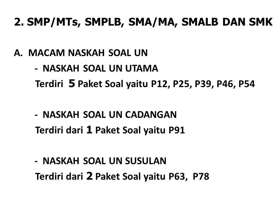 2. SMP/MTs, SMPLB, SMA/MA, SMALB DAN SMK A. MACAM NASKAH SOAL UN - NASKAH SOAL UN UTAMA Terdiri 5 Paket Soal yaitu P12, P25, P39, P46, P54 - NASKAH SO