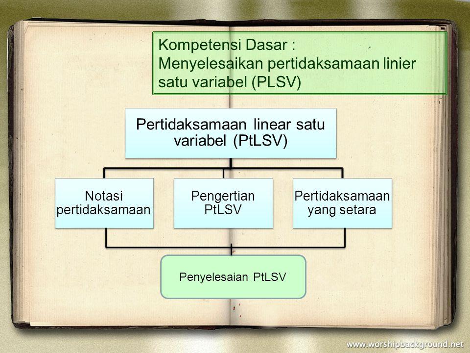 Kompetensi Dasar : Menyelesaikan pertidaksamaan linier satu variabel (PLSV) Pertidaksamaan linear satu variabel (PtLSV) Notasi pertidaksamaan Pengerti