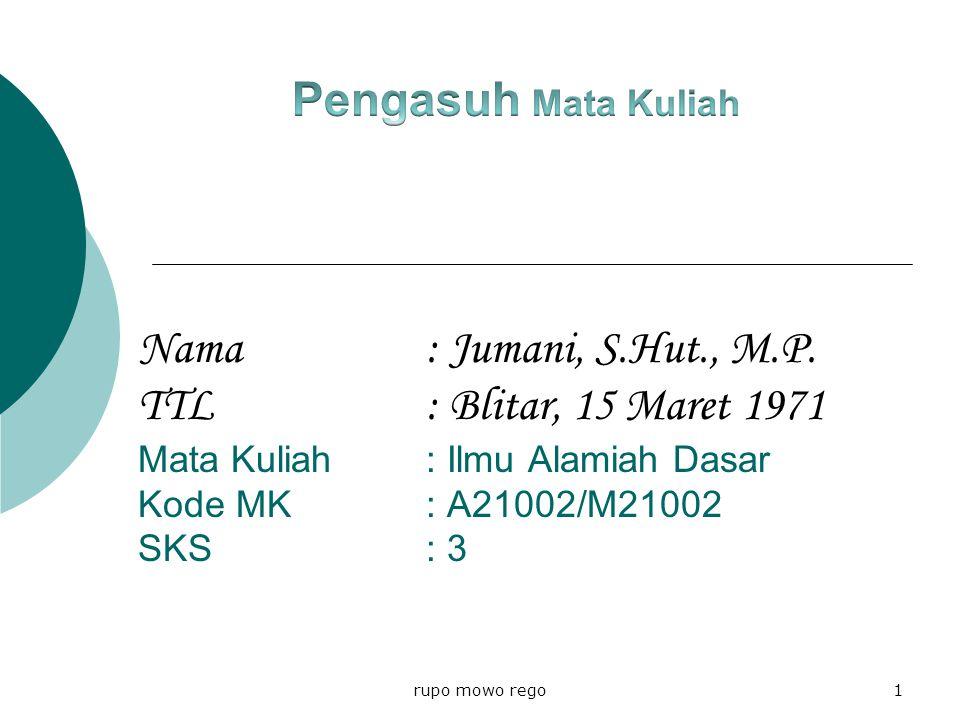 Nama: Jumani, S.Hut., M.P.