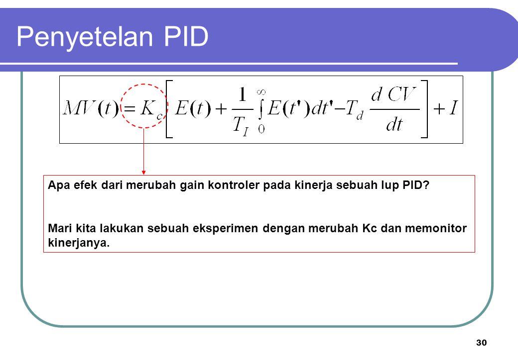 30 Apa efek dari merubah gain kontroler pada kinerja sebuah lup PID? Mari kita lakukan sebuah eksperimen dengan merubah Kc dan memonitor kinerjanya. P