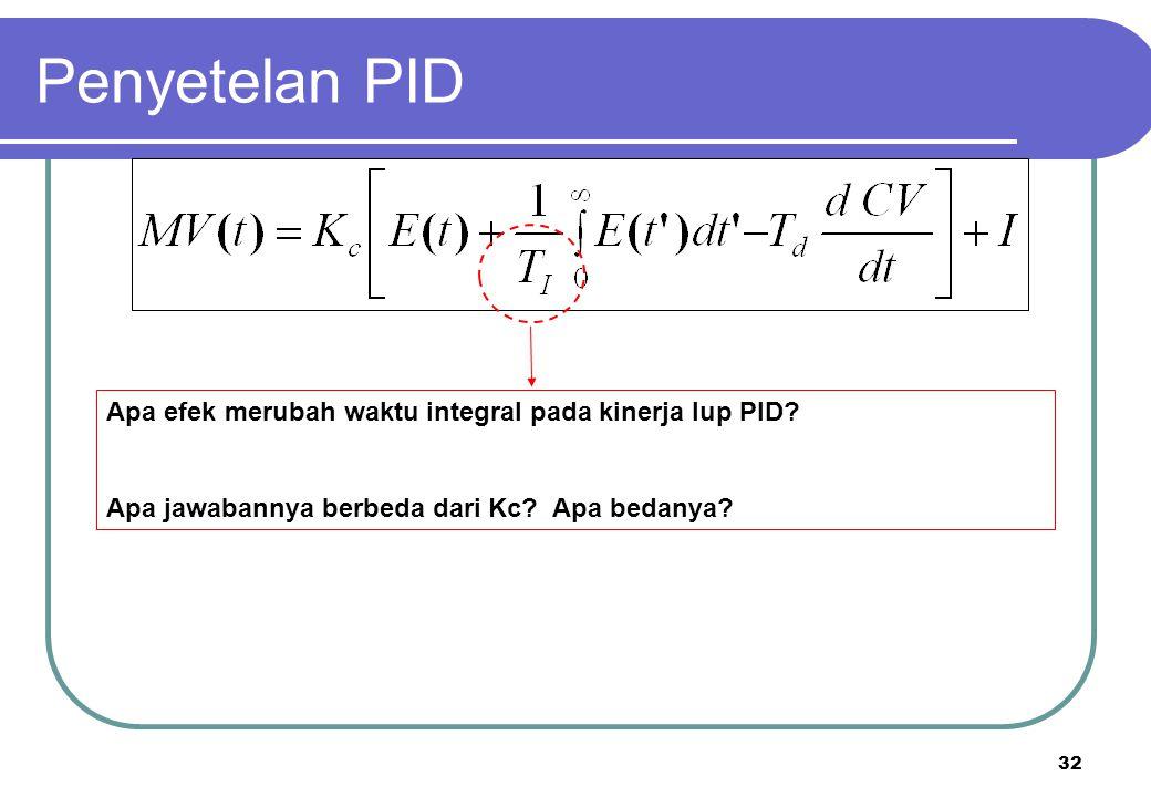 32 Apa efek merubah waktu integral pada kinerja lup PID? Apa jawabannya berbeda dari Kc? Apa bedanya? Penyetelan PID