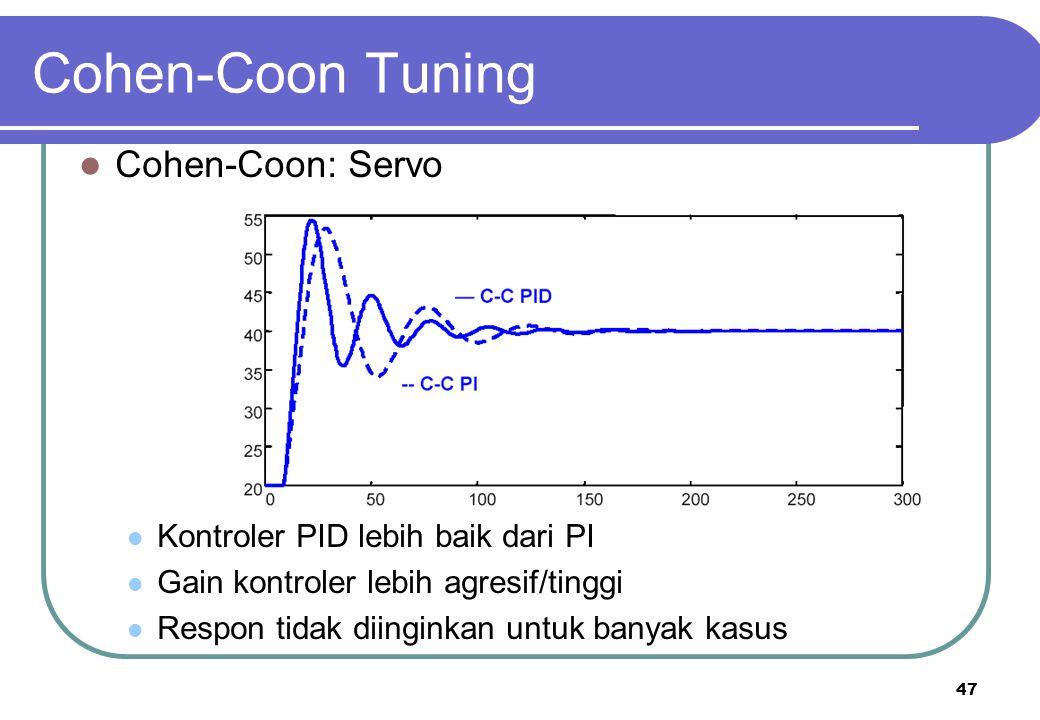 47 Cohen-Coon Tuning Cohen-Coon: Servo Kontroler PID lebih baik dari PI Gain kontroler lebih agresif/tinggi Respon tidak diinginkan untuk banyak kasus