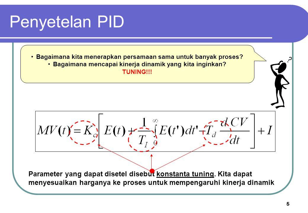 5 Bagaimana kita menerapkan persamaan sama untuk banyak proses? Bagaimana mencapai kinerja dinamik yang kita inginkan? TUNING!!! Parameter yang dapat