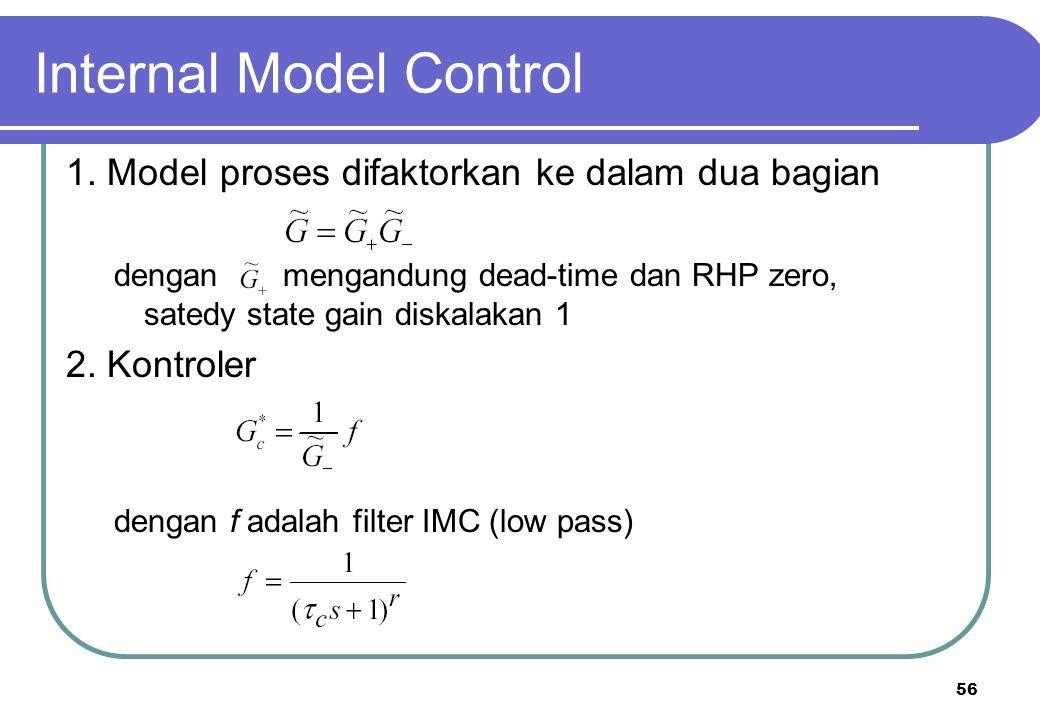 56 Internal Model Control 1. Model proses difaktorkan ke dalam dua bagian dengan mengandung dead-time dan RHP zero, satedy state gain diskalakan 1 2.