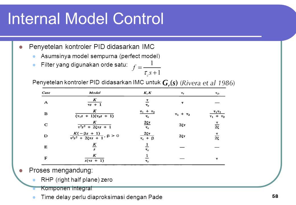 58 Internal Model Control Penyetelan kontroler PID didasarkan IMC Asumsinya model sempurna (perfect model) Filter yang digunakan orde satu: Penyetelan