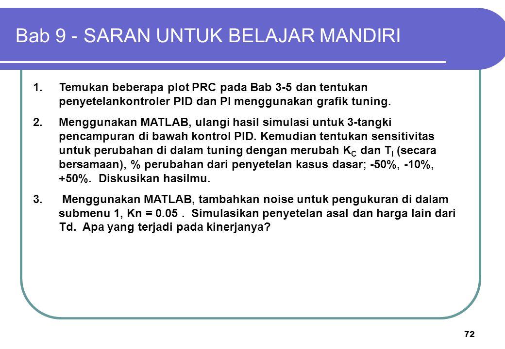 72 1.Temukan beberapa plot PRC pada Bab 3-5 dan tentukan penyetelankontroler PID dan PI menggunakan grafik tuning. 2.Menggunakan MATLAB, ulangi hasil