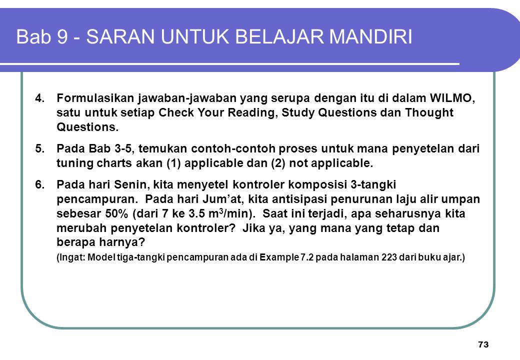 73 4.Formulasikan jawaban-jawaban yang serupa dengan itu di dalam WILMO, satu untuk setiap Check Your Reading, Study Questions dan Thought Questions.
