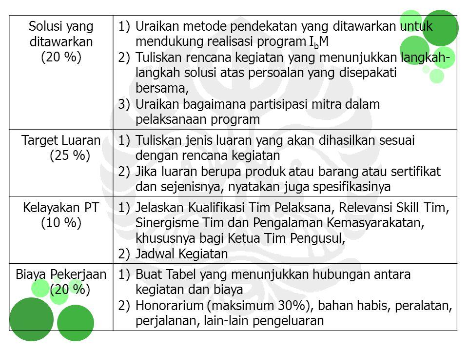 Solusi yang ditawarkan (20 %) 1)Uraikan metode pendekatan yang ditawarkan untuk mendukung realisasi program I b M 2)Tuliskan rencana kegiatan yang men