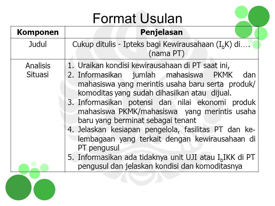 Format Usulan KomponenPenjelasan JudulCukup ditulis - Ipteks bagi Kewirausahaan (I b K) di …. (nama PT) Analisis Situasi 1.Uraikan kondisi kewirausaha